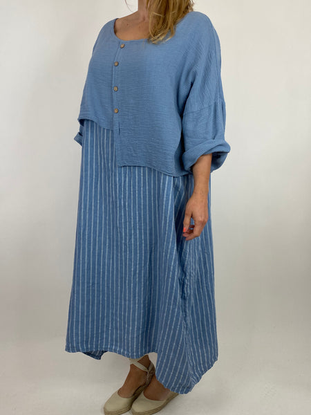Lagenlook Lucy Stripe Over tank Tunic in Denim. Code 88213