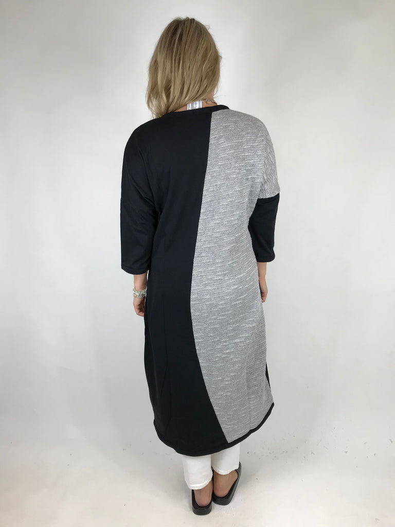 Lagenlook Raymer Stripe Quirky Tunic in Black .code 1193