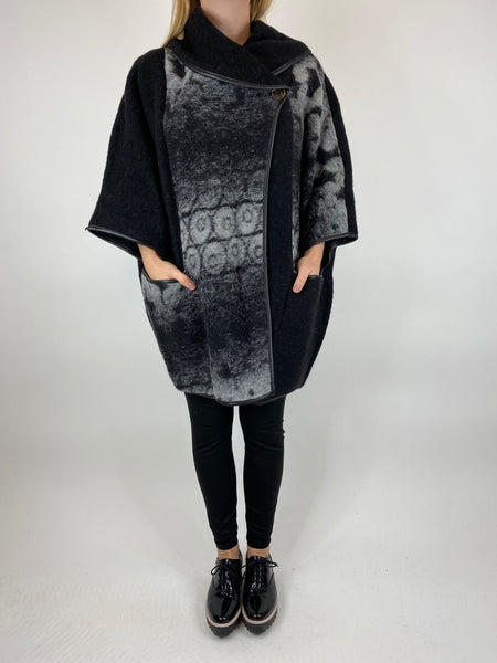 Lagenlook Boho Shadow flower jacket in Black. code 10240