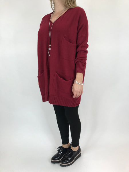 Lagenlook Grove V- Neck Knit jumper in Wine. code 6077