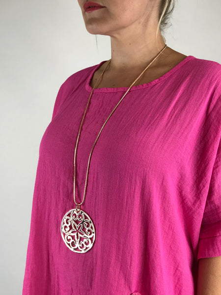Lagenlook Large Sundisc Necklace in Rose gold. code N488