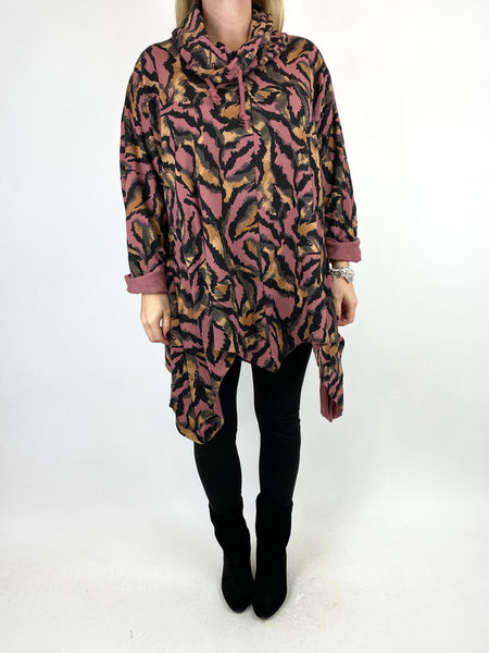 Lagenlook Animal Print Cowl Top in Pink. code 50002 - Lagenlook Clothing UK