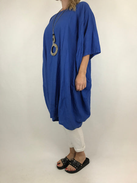 Lagenlook Cocoon Top in Royal Blue. code 5808