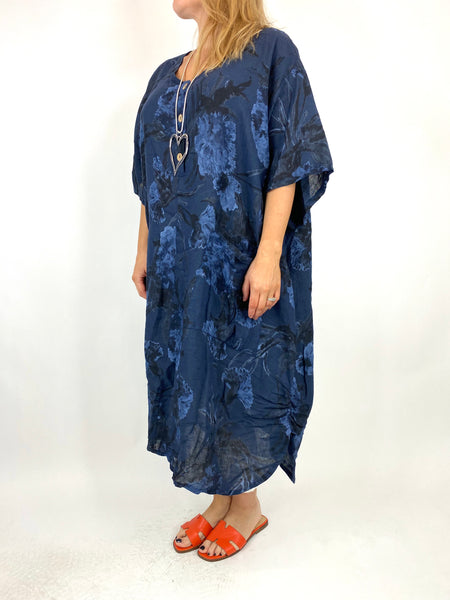 Lagenlook Carrie Button Flower Linen 30UK Size Top in Navy. code 2149