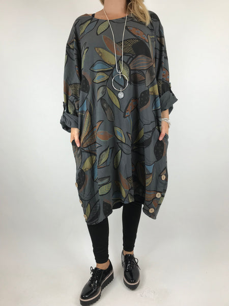 Lagenlook Winter Leaf Tunic in Charcoal. code 10015 - Lagenlook Clothing UK