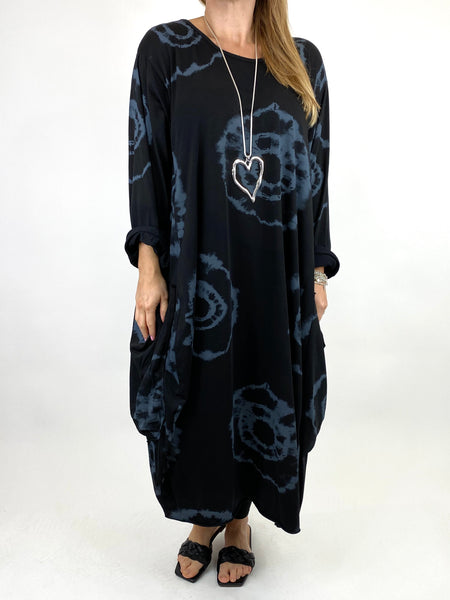 Lagenlook Celeste Tie-dye Side Pocket Tunic in Black .code 9904
