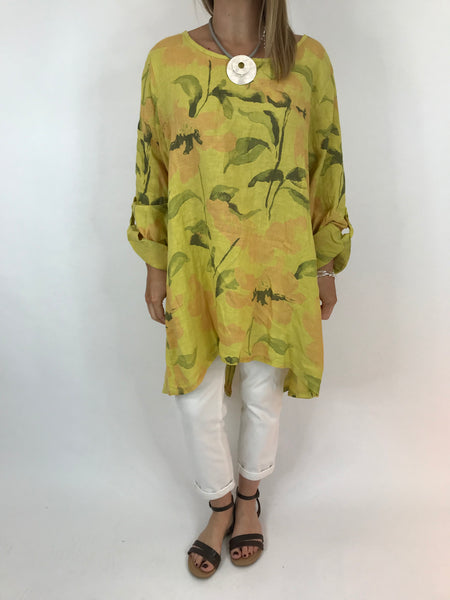 Lagenlook Flower Button back tunic in Yellow. Code 5641