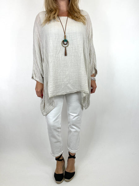 Lagenlook Nina necklace top Regular size in Cream. code 9066 - Lagenlook Clothing UK