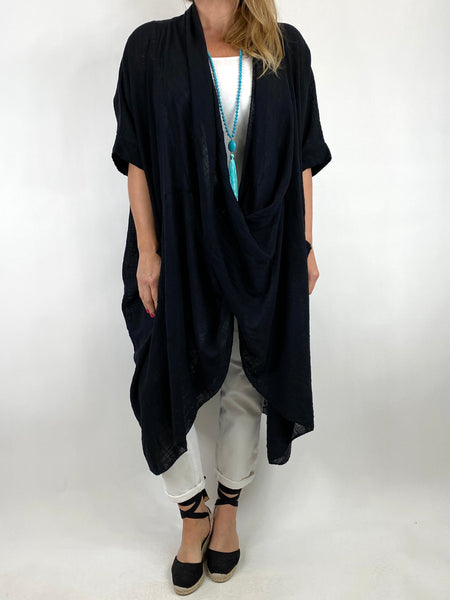 Lagenlook Cotton Wrap Dress Top in Black. code 8307