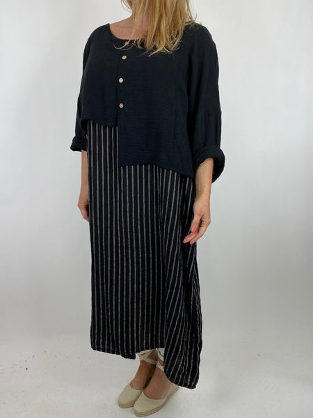 Lagenlook Lucy Stripe Over tank Tunic in Black. Code 88213