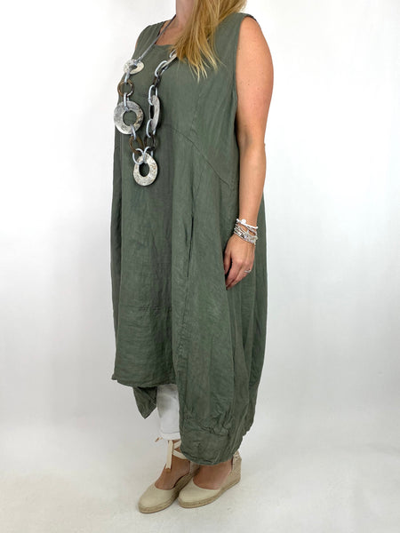 Lagenlook Bella Linen Square neck tunic in Khaki. code 8262
