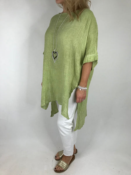 Lagenlook Alto Linen Top in Lime. code 5773