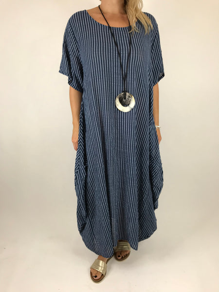 ff409bf0e91 Lagenlook Maria Pinstripe Summer Tunic Dress in Navy. code 5769 ...