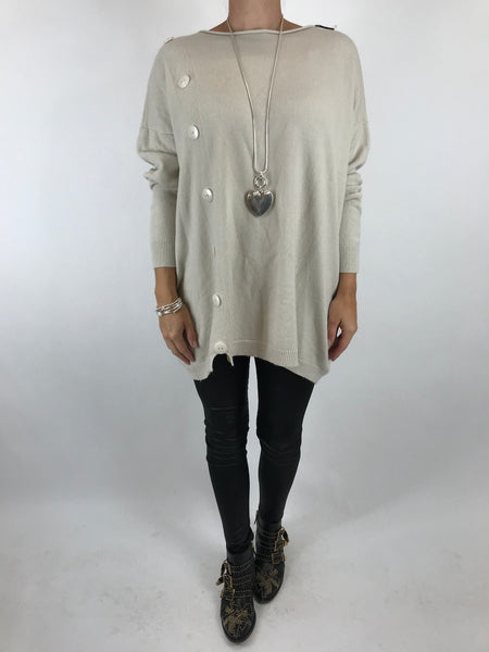 Lagenlook Tess Button side jumper in Cream. code 5461