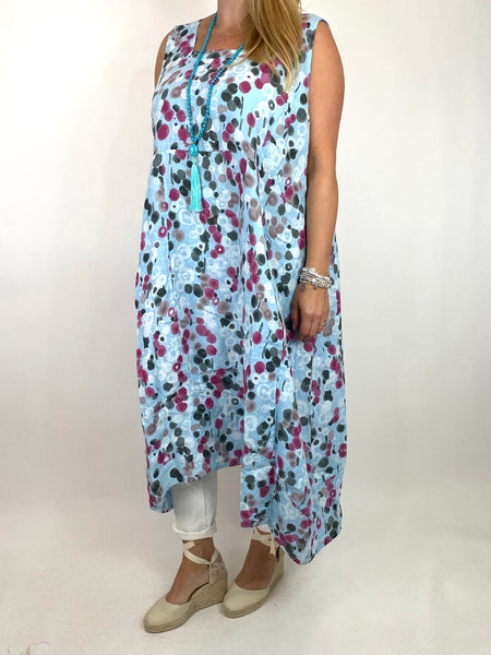 Lagenlook Millie Linen Flower Dot Square neck tunic in Sky. code 8262D