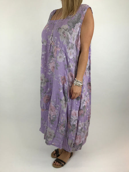 Lagenlook Emily Square neck linen Flower Print Dress in Lilac. code 5697