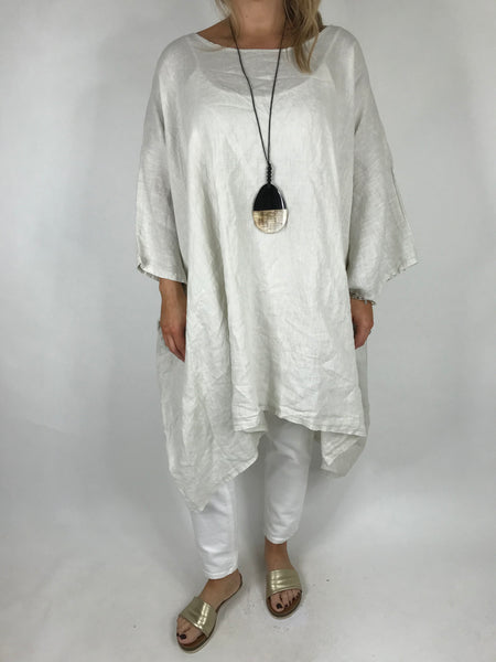 Lagenlook Vera Linen Poncho Top in Cream .code 8956