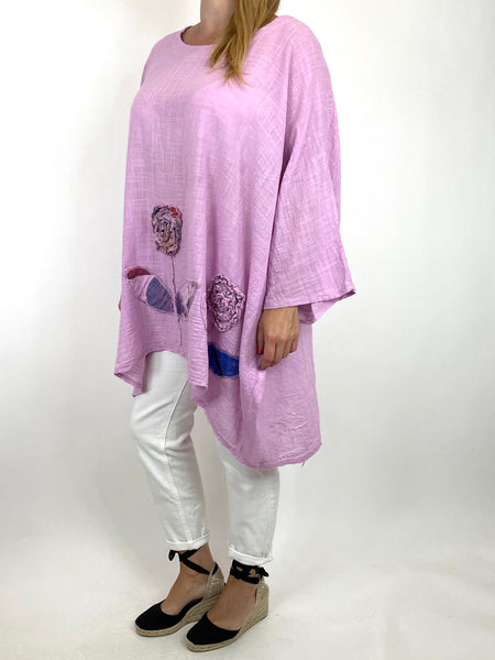 Lagenlook Dalia Flower hem in Lilac . Code 90969