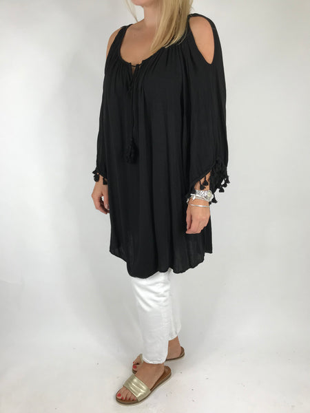 Lagenlook Layla Summer Tassel Top in Black. Code 5241