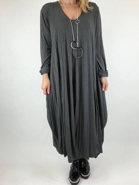 Lagenlook Long Plain V Neck Tunic In Charcoal. code 5983