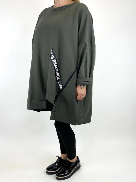 Lagenlook Langdon Tape Sweatshirt in Khaki. code 91169