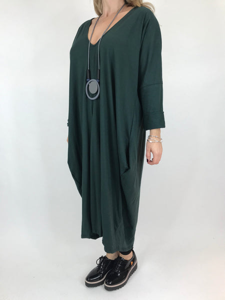 Lagenlook Tulip V-neck Top in Green. code 9099