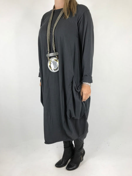 Lagenlook Pocket side Tunic in Charcoal. code 4728