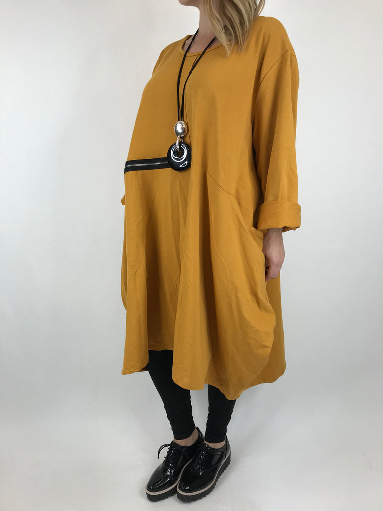 Lagenlook Canham Cotton Zip Side tunic in Mustard. code 9429 - Lagenlook Clothing UK