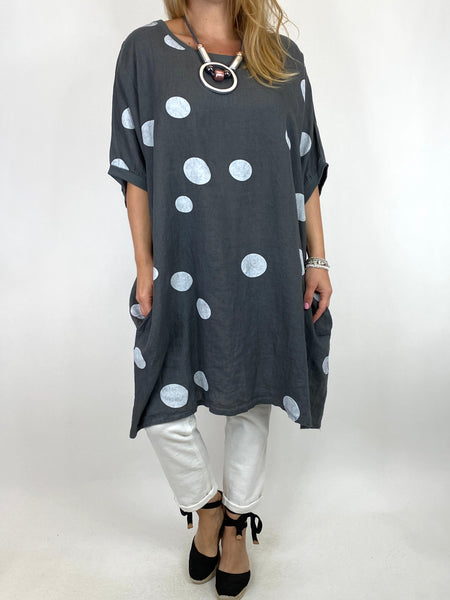 Lagenlook Dot Linen tunic in Charcoal. code 9619