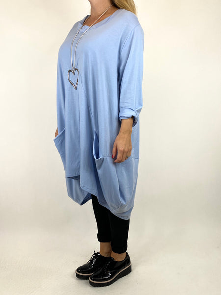 Lagenlook Ada Parachute Dress Top in Baby Blue. code 91048 - Lagenlook Clothing UK