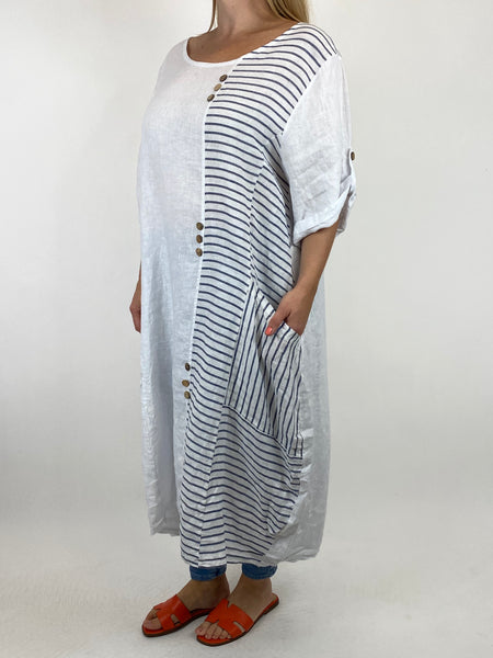Lagenlook Claudia Button and Stripe Linen Tunic in White. code 10377 - Lagenlook Clothing UK