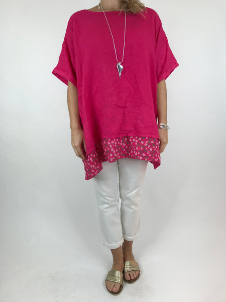 Lagenlook Ditsy Flower Hem Summer Top in Fuchsia . code A1362
