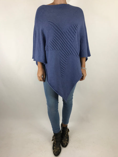 Lagenlook Made In Italy Star Poncho in Denim . code 5405
