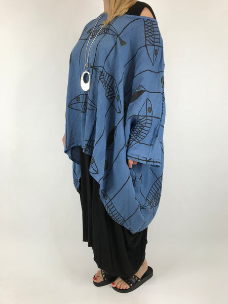 Lagenlook Linen Quirky Print Poncho Top in Denim. Code 18057