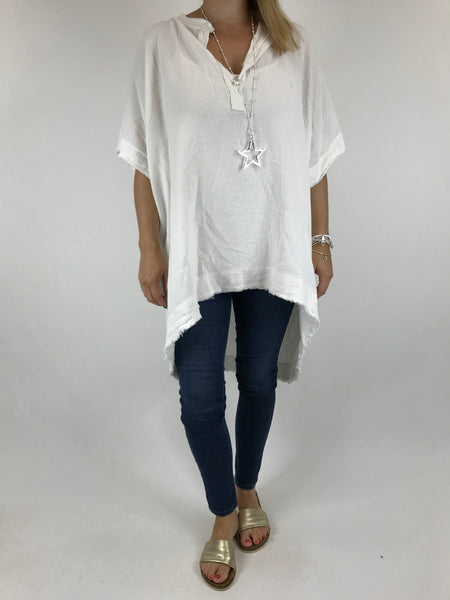 Lagenlook Bella Cotton V-Neck in White. code 0200