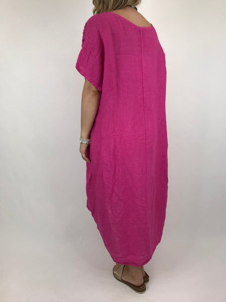 Lagenlook Lace Shoulder Linen Top in Fuchsia. code 5911