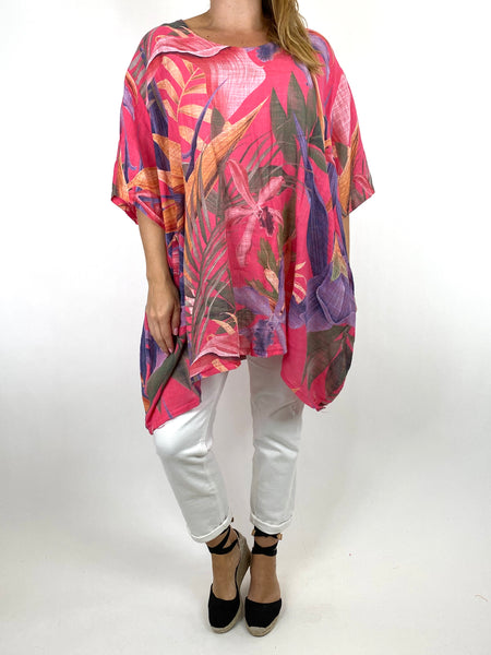 Lagenlook Solis Tropical Flower Top in Fuchsia. code 90645