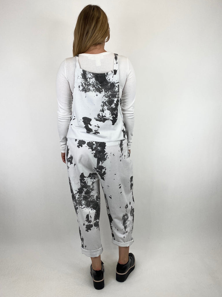 Lagenlook Dakota Tye-dye Made in Italy Dungarees in White.code 6777TD - Lagenlook Clothing UK