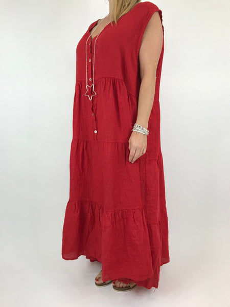 Lagenlook Kate Sleeveless Button Front Linen Tunic in Red. code 20529