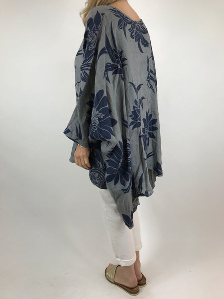 Lagenlook Linen Flower Poncho Top in Grey. code 18057