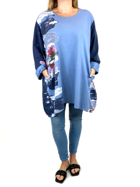 Lagenlook Hetty Flower Top in Denim. code 90646 - Lagenlook Clothing UK