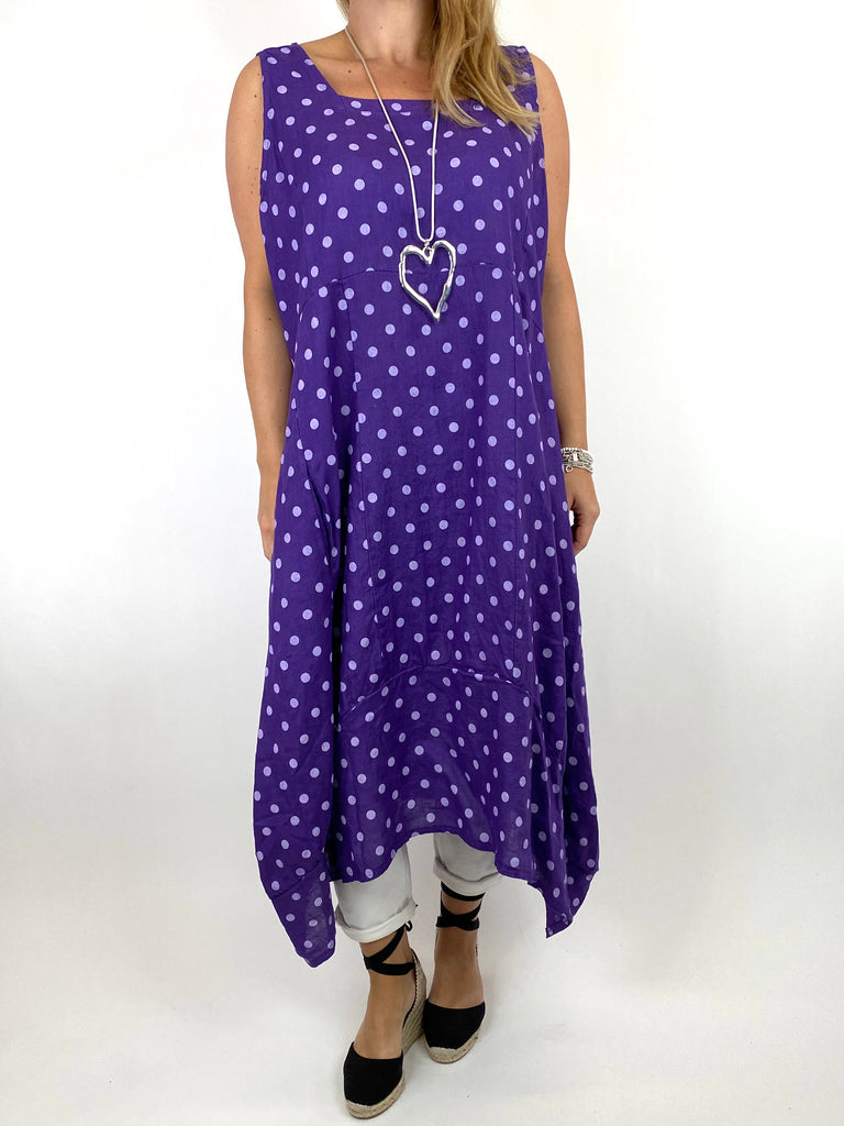Lagenlook Taylor Linen Polka Dot Square neck tunic in Purple. code 8262PD - Lagenlook Clothing UK