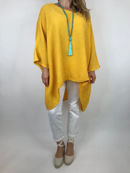 Lagenlook Milly Waffle Top in Yellow. code 90965