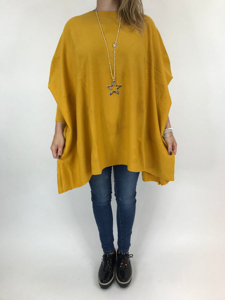 Lagenlook Calia Star Poncho Knit in Mustard. code 47352 - Lagenlook Clothing UK