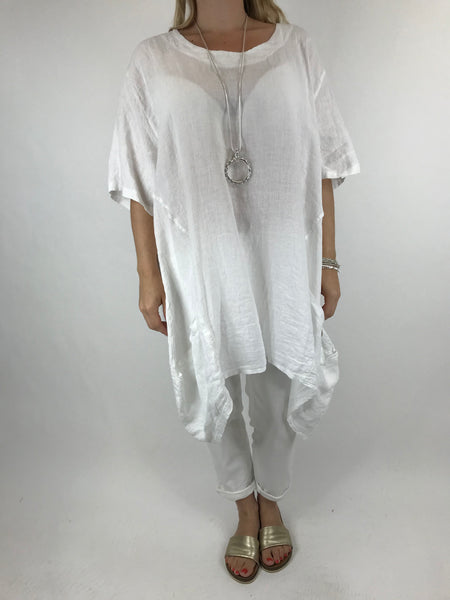 Lagenlook Etta Linen Button Pocket Top in White. Code 90247