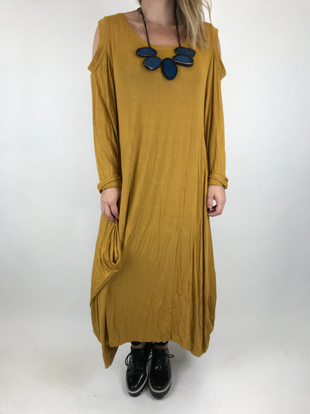 Lagenlook Alley Cold Shoulder Tunic in Mustard. code 1025