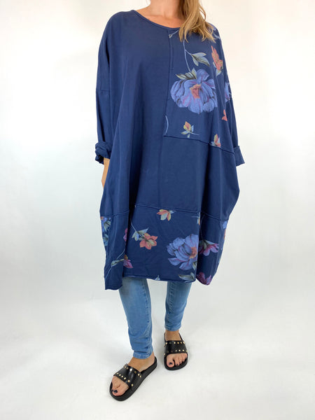 Lagenlook Lilly Flower Patch Sweatshirt  in Navy. code 0069