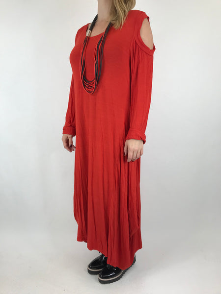 Lagenlook Alley Cold Shoulder in Red. code 1025
