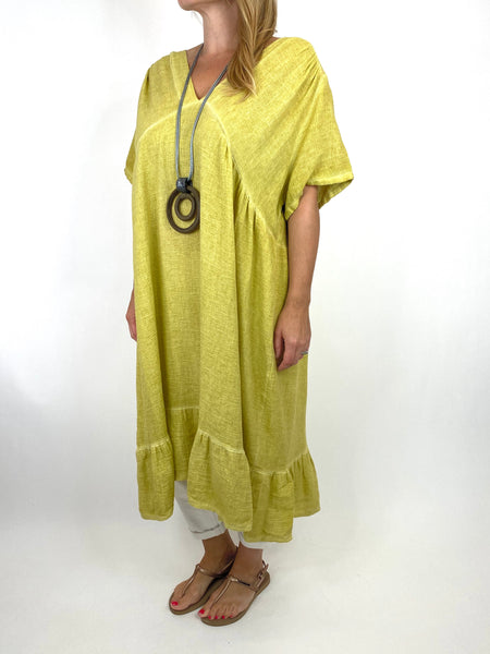 Lagenlook Horton Washed V-Neck top in Yellow code 10436 - Lagenlook Clothing UK