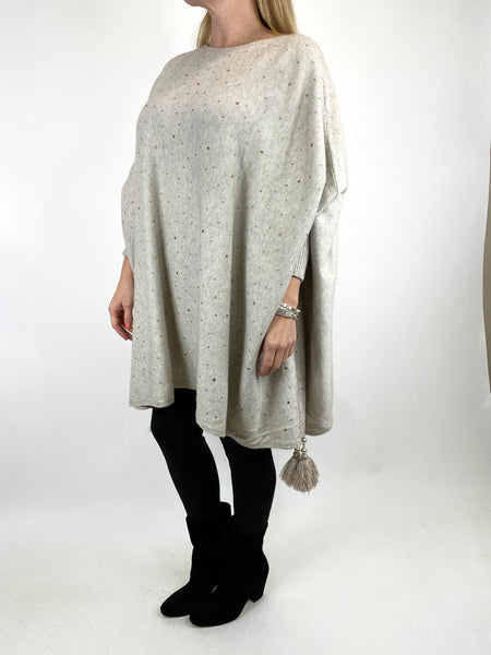 Lagenlook Carla Tassel Sparkle Jumper in Cream. code 2755 - Lagenlook Clothing UK